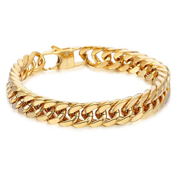 Amazon.com: Hermah Heavy Mens Bracelet Chain 316L Stainless Steel Gold Color Punk Double Curb Cuban Rombo Link 10mm 10inch: Jewelry