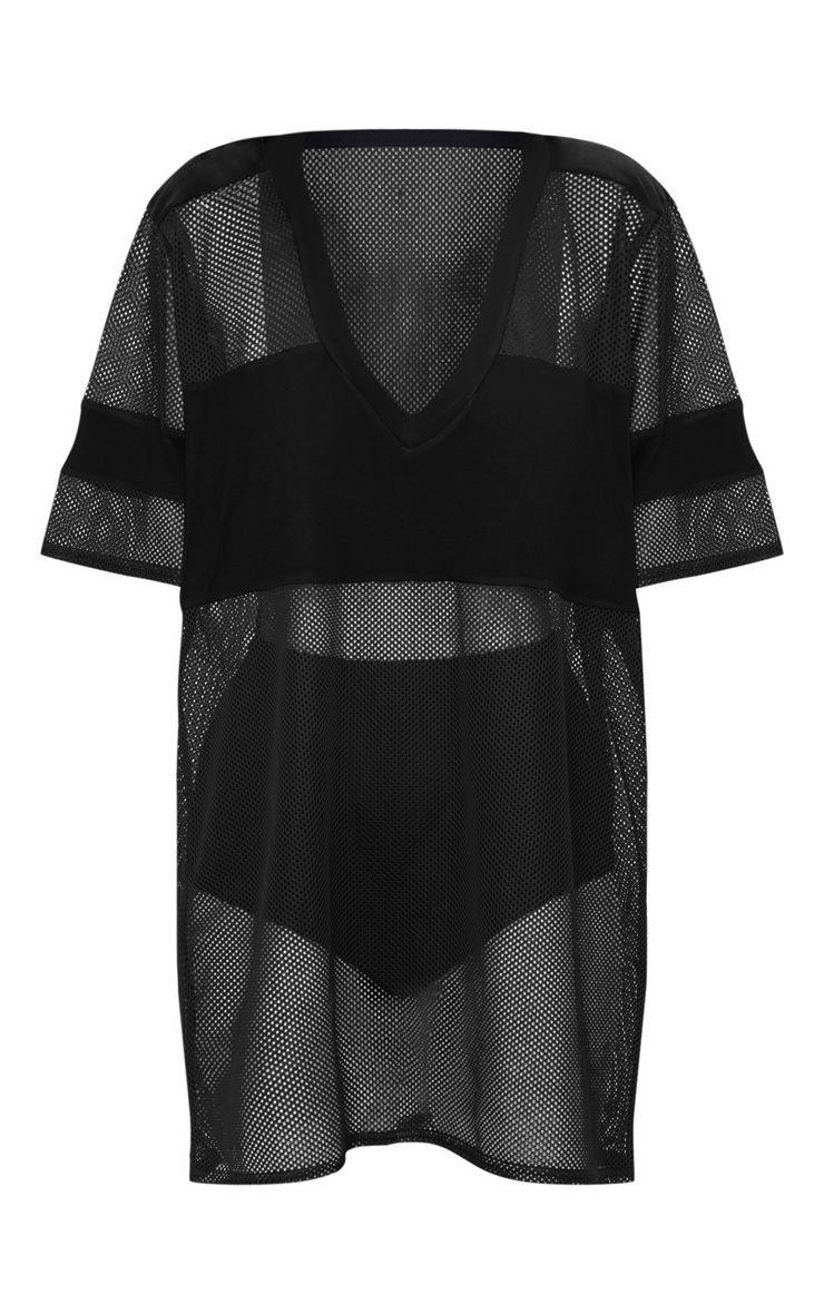 Black Airtex Mesh T Shirt Dress | PrettyLittleThing