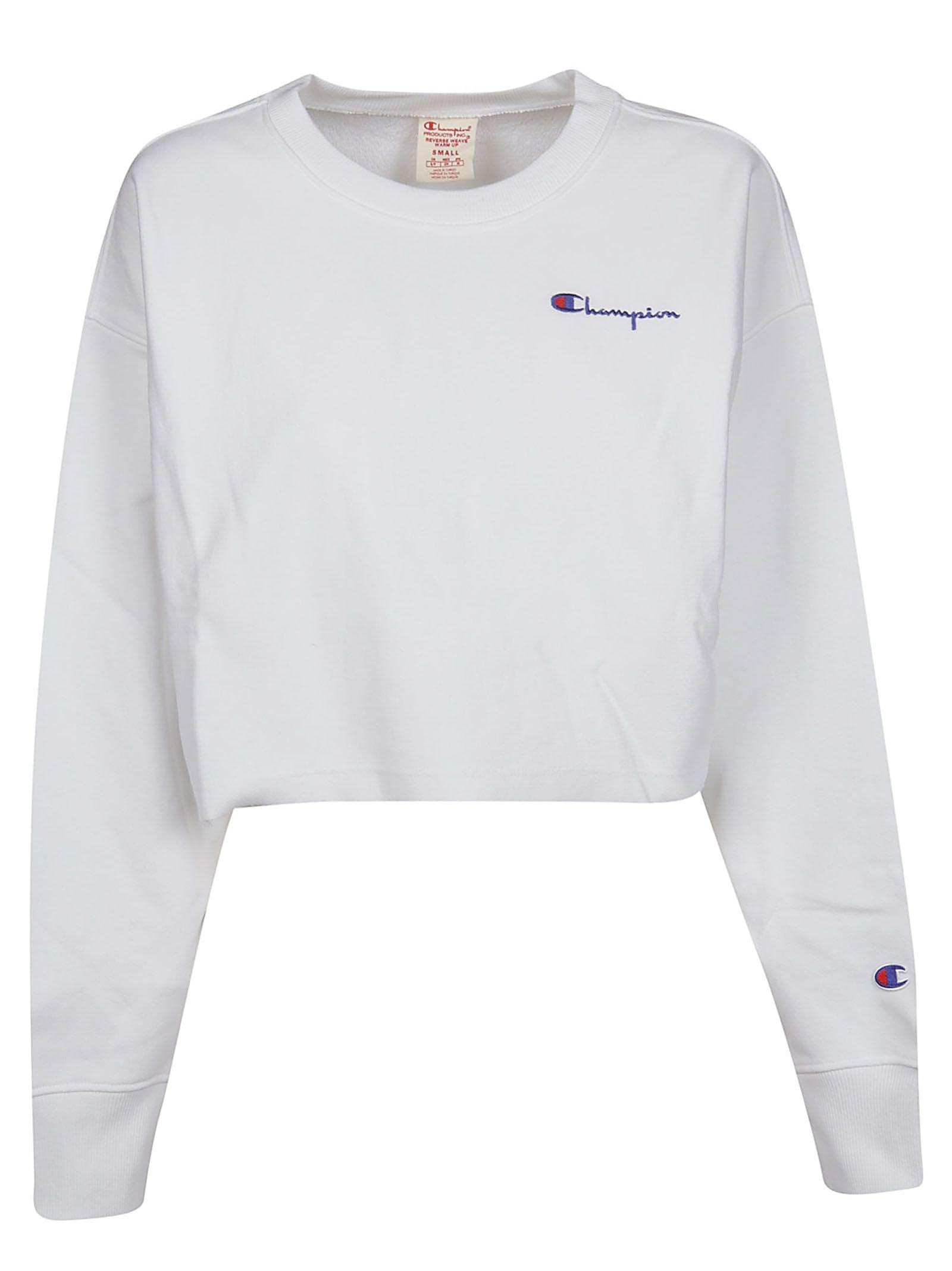Champion Logo Embroidered Cropped Sweatshirt