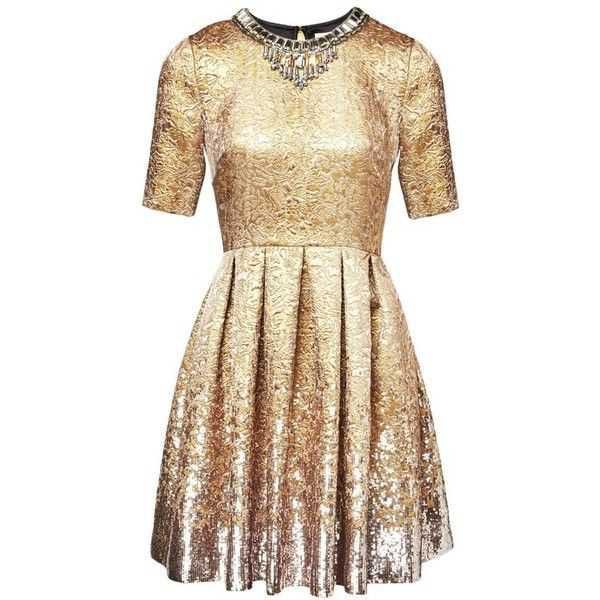 Matthew Williamson Gold Jacquard Sequin Dress