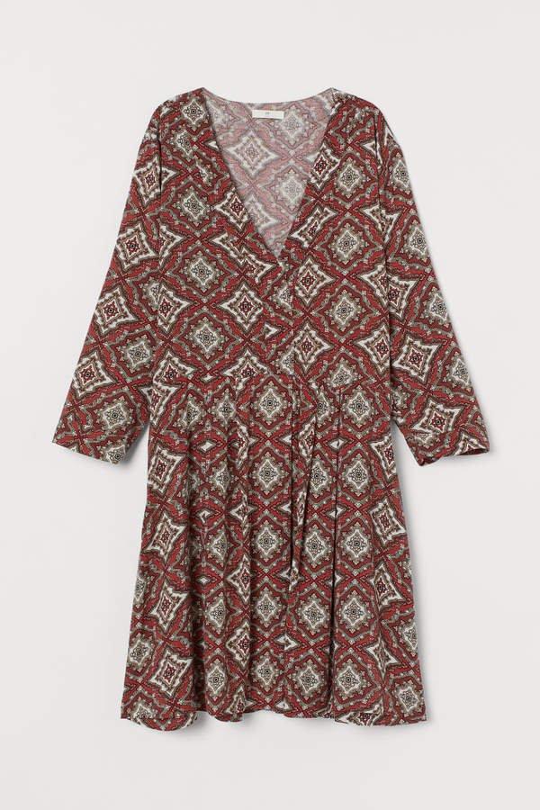 V-neck Dress - Beige