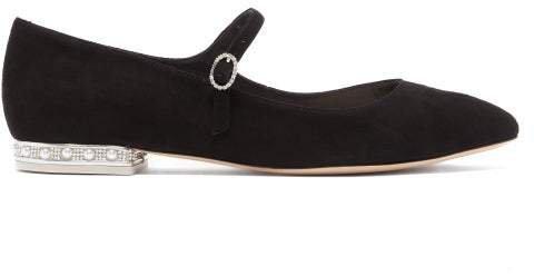 Toni Crystal Embellished Suede Flats - Womens - Black