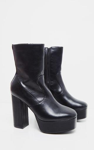 Black High Platform Ankle Boots | Shoes | PrettyLittleThing