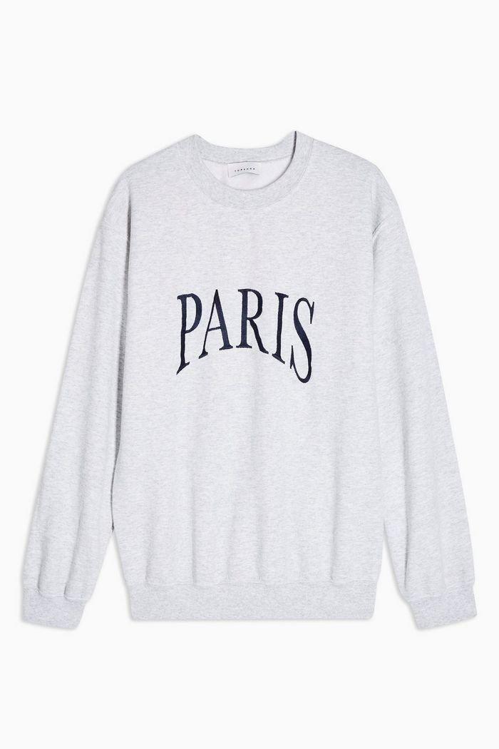 Grey Paris Embroidered Sweatshirt | Topshop