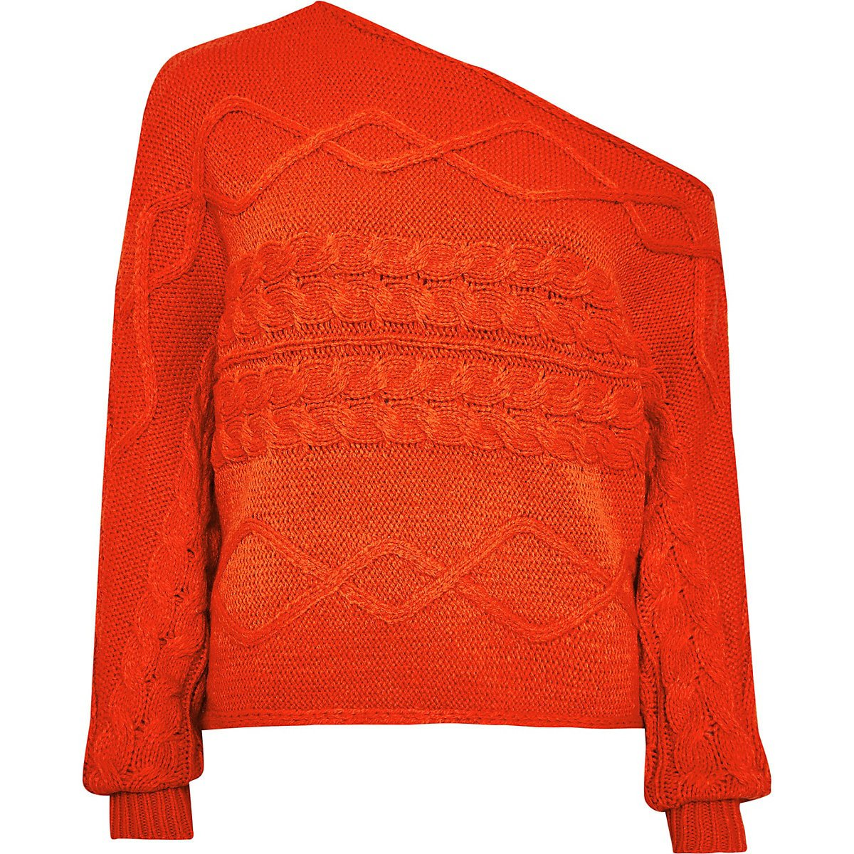 Orange asymmetric bardot knitted jumper   River Island
