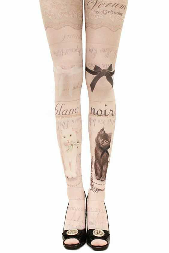 Blanc and Noir Cat Tights Modcloth