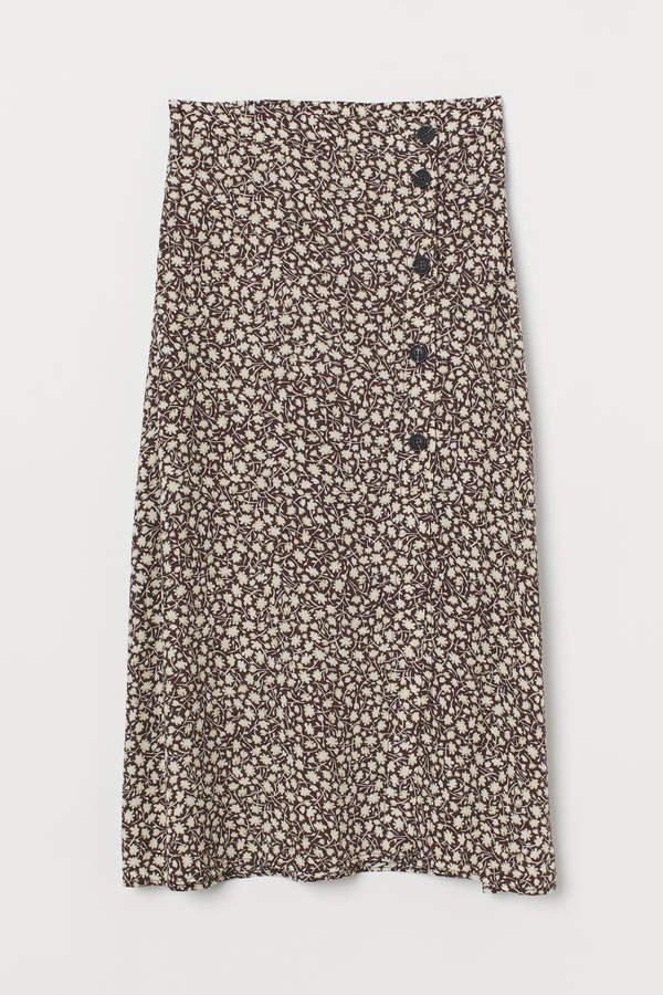 Calf-length Skirt - Brown