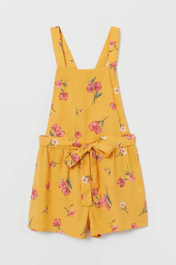 Bib Overall Shorts - Yellow