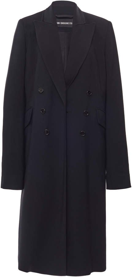 Ann Demeulemeester Double-Breasted Notched Lapel Crepe De Chine Coat S