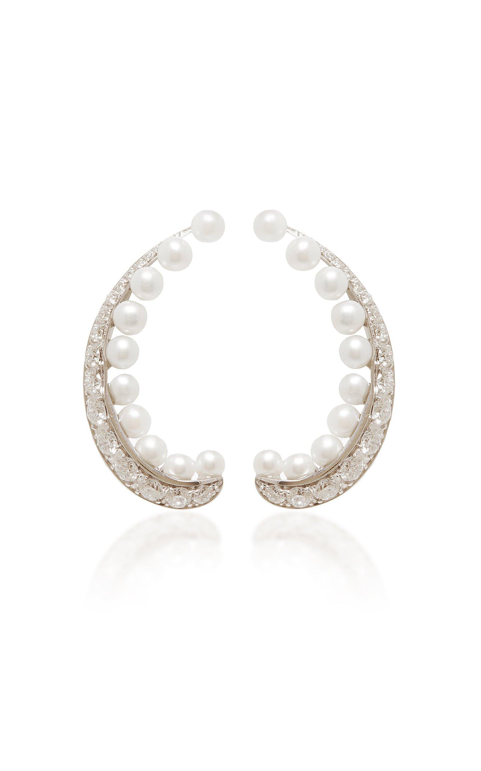 David Morris Pearl Rose Earrings