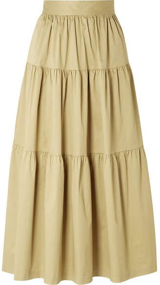 Sea Tiered Stretch-cotton Poplin Midi Skirt - Sand