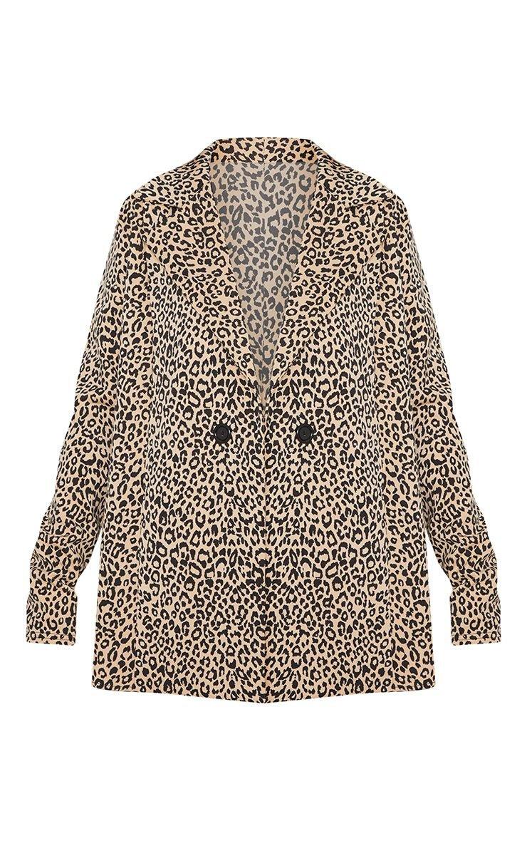 Brown Leopard Boyfriend Blazer | PrettyLittleThing USA