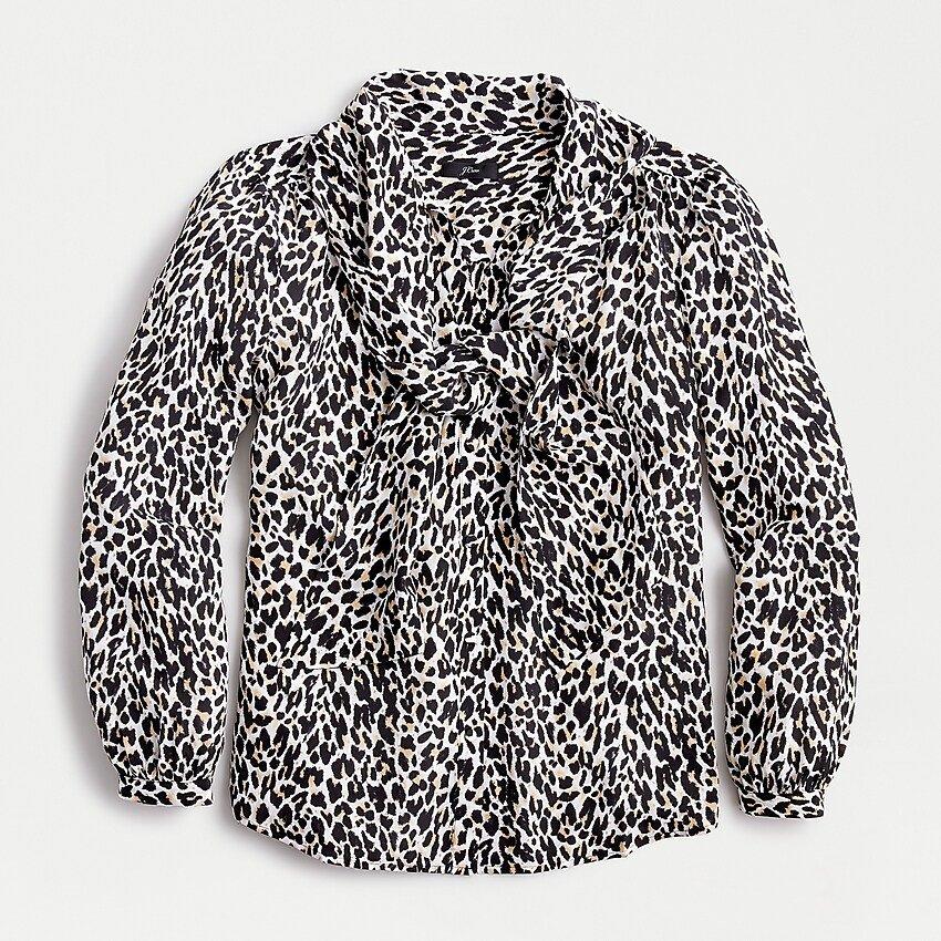 J.Crew: Silk Tie-neck Blouse In Leopard