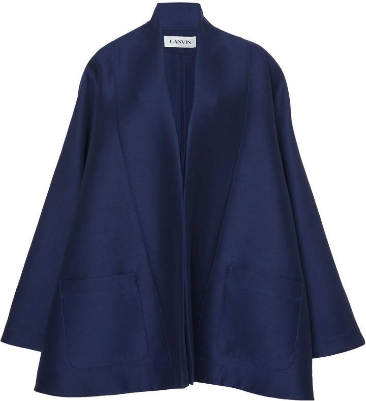 Lanvin Wool-Silk Blend Cape Jacket Size: 36