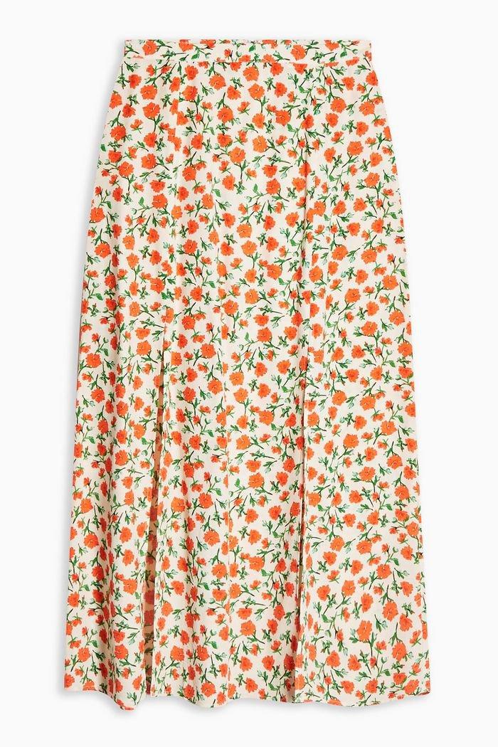 Cream Double Split Floral Midi Skirt | Topshop