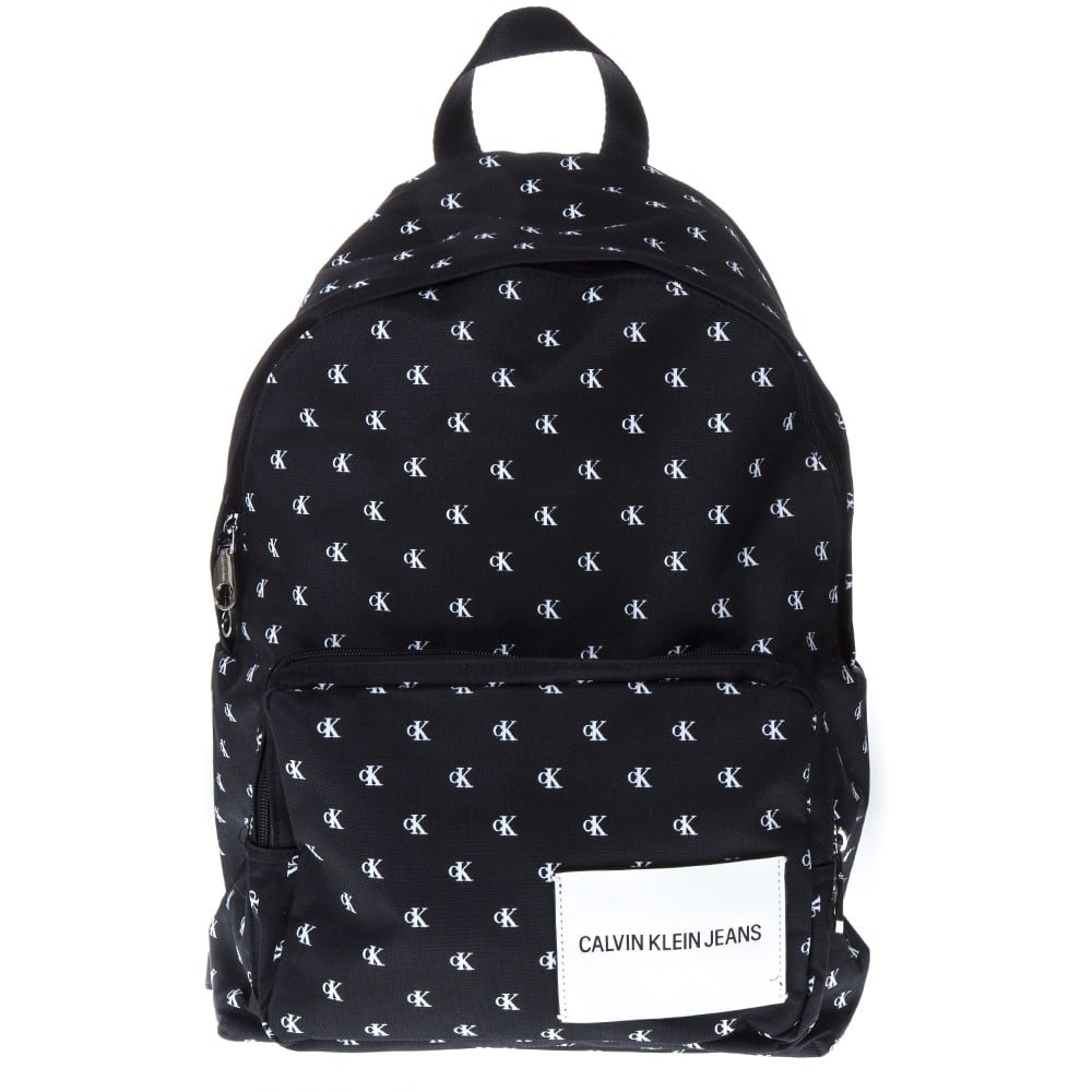 Calvin Klein Black & White Logo Nylon Backpack