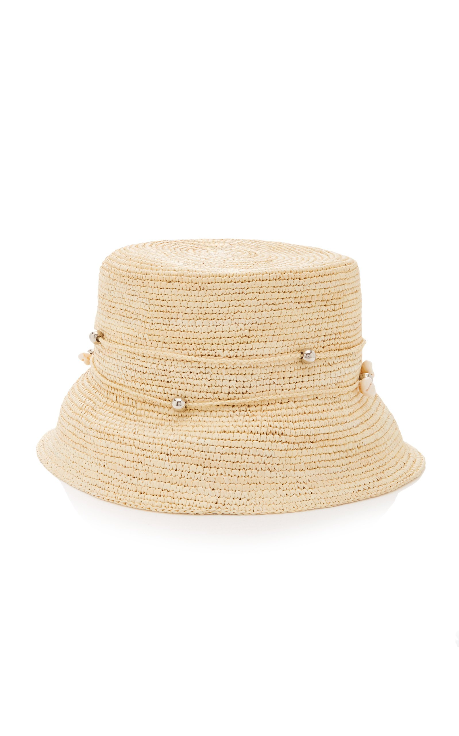 Sensi Studio Embellished Straw Bucket Hat Size: M