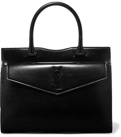 Uptown Medium Glossed-leather Tote - Black