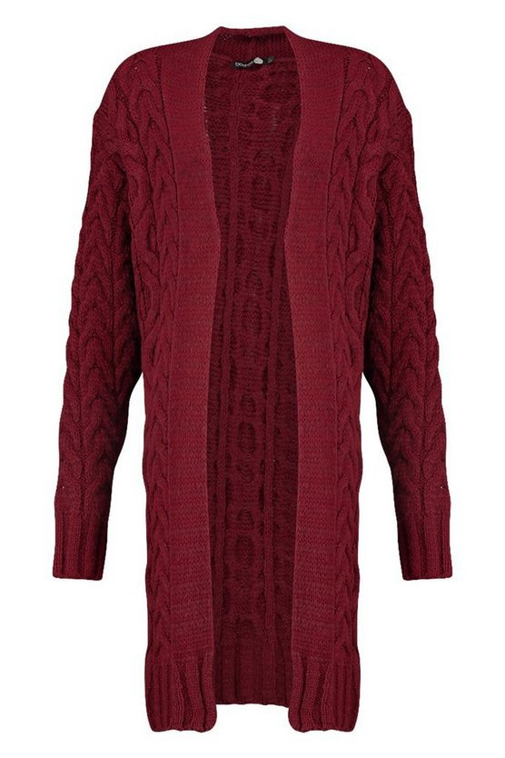 Tall Soft Knit Cable Cardigan   Boohoo burgundy