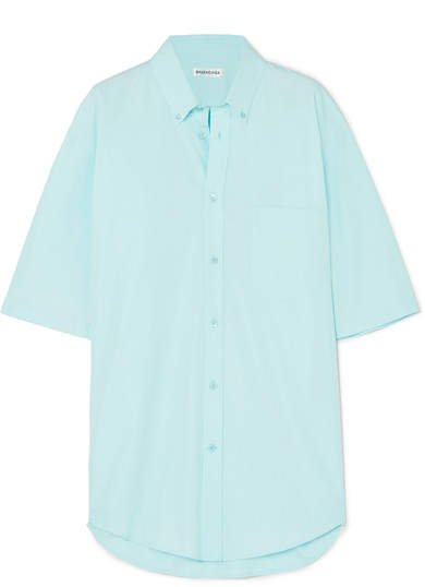 Oversized Printed Cotton-poplin Shirt - Blue