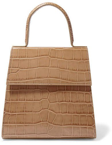 Monet Croc-effect Leather Tote - Taupe
