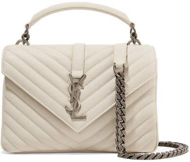 College Medium Quilted Leather Shoulder Bag - Ivory