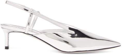 Mirror Kitten Heel Slingback Pumps - Womens - Silver