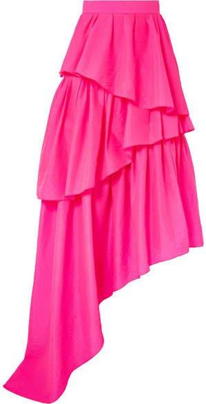 Asymmetric Ruffled Ripstop Maxi Skirt - Fuchsia