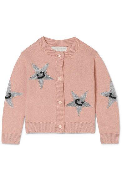 Stella McCartney Kids | Cardigan en coton biologique et laine mérinos mélangés intarsia métallisés | NET-A-PORTER.COM