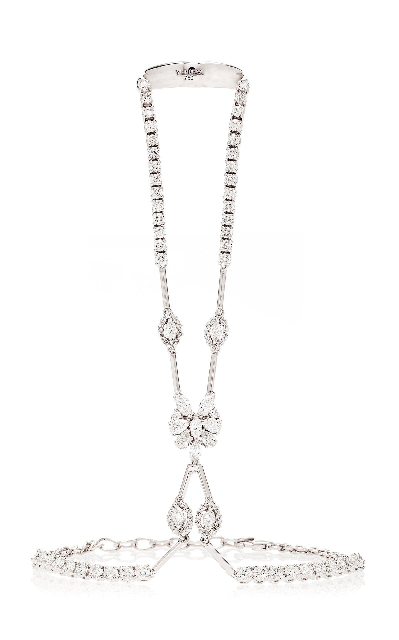 18K White And Diamond Ring And Bracelet Chain by Yeprem   Moda Operandi