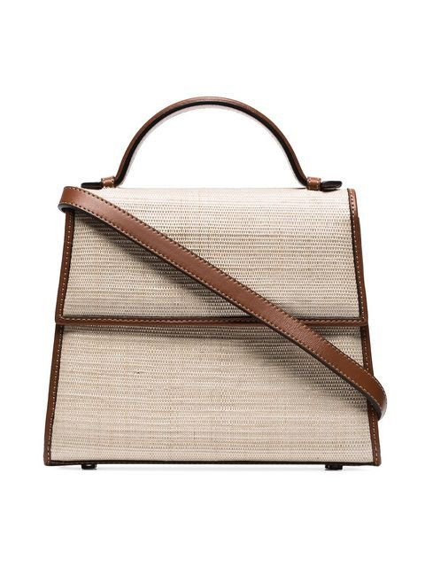 Hunting Season brown and neutral Top Handle Straw And Leather Bag $630 - Shop SS19 Online - Fast Delivery, Price