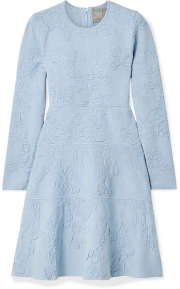 Textured-knit Dress - Sky blue