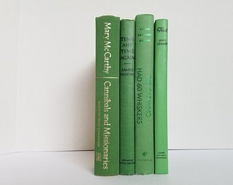 Set of 6 Dark Green Books Home or Wedding Decor Instant | Etsy