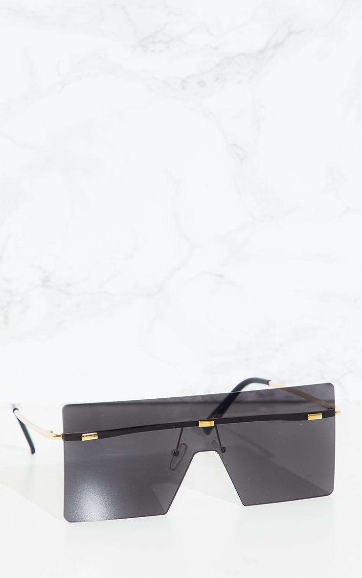 Black Frameless Square Sunglasses   PrettyLittleThing