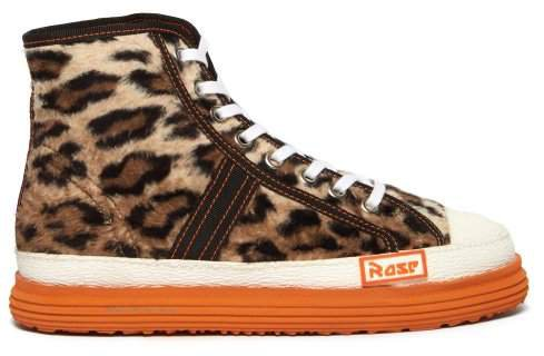 Leopard Faux Fur Basketball Trainers - Womens - Leopard