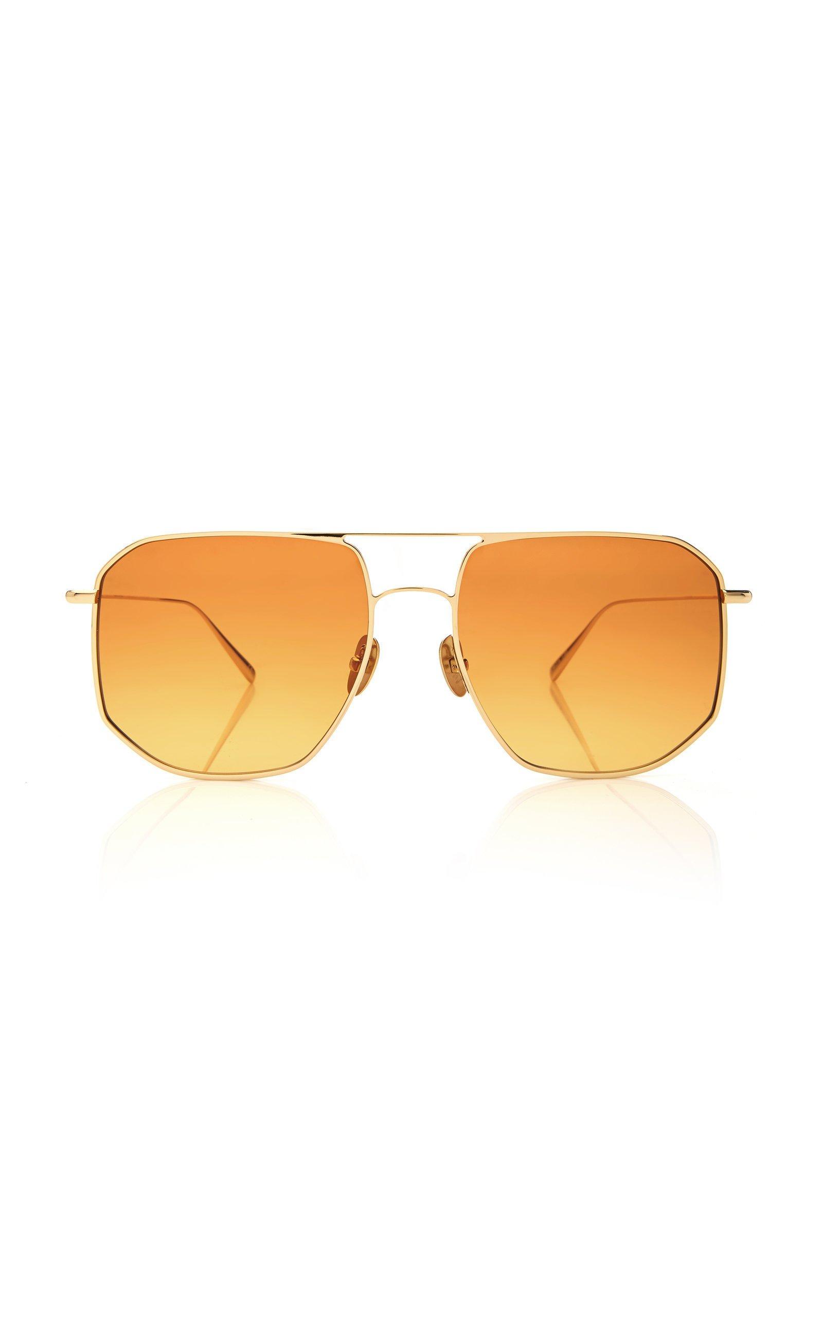 Kaleos Eyehunters LaMotta Hexagon-Frame Metal Sunglasses