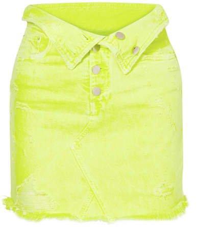 Fold-over Distressed Denim Mini Skirt - Yellow