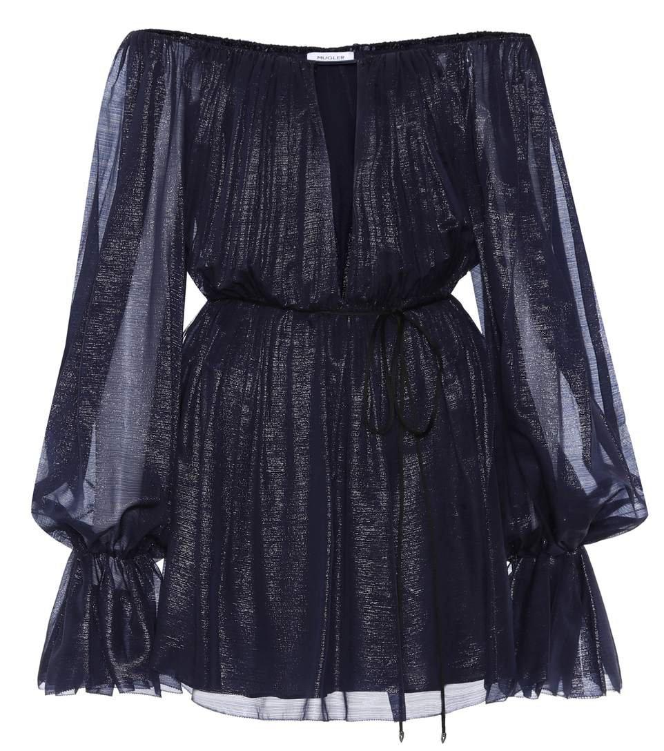 Mugler - Silk off-the-shoulder minidress   mytheresa.com