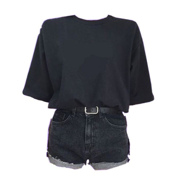 loose black t-shirt with black highwaisted shorts