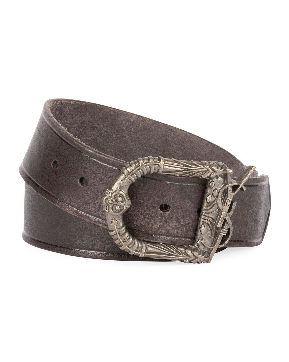 Saint Laurent Distressed Leather Belt with Ornate Buckle