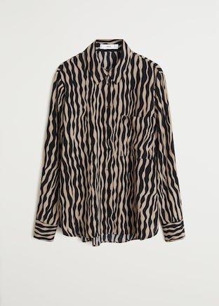 Zebra printed shirt - Women | Mango USA brown