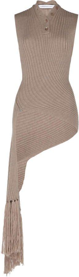 Sleeveless Wool-Blend Ribbed Fringed Wrap Knit
