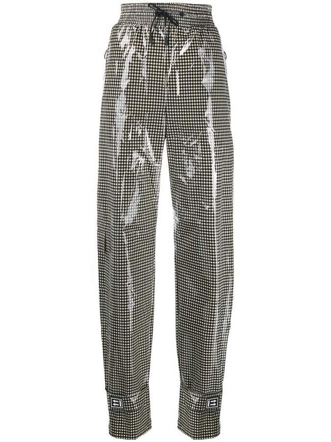 shiny gingham trousers