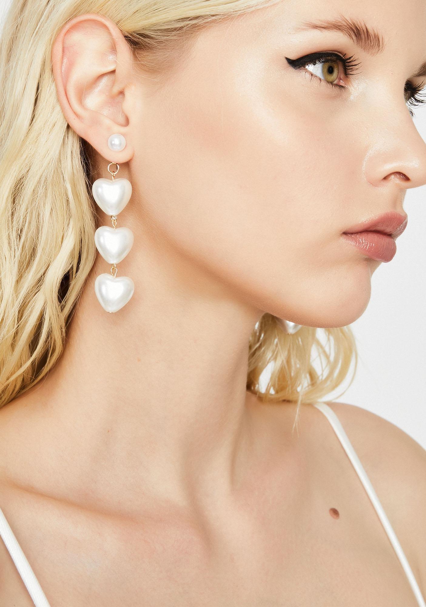 Pearl Heart Earrings Drop   Dolls Kill