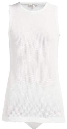 Sleeveless Mesh Bodysuit - Womens - White