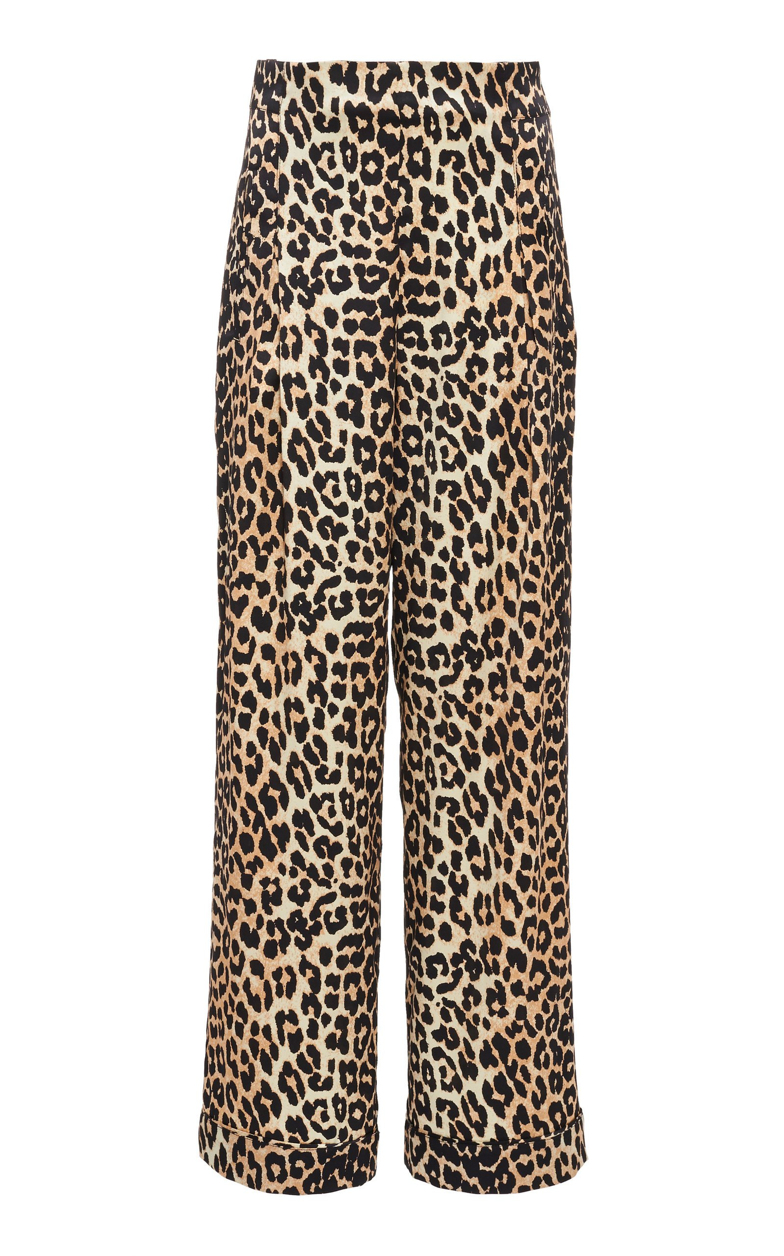 Ganni Leopard Silk Satin Wide-Leg Pants