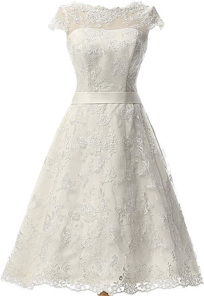 Wedding Vintage Dress Knee Length Lace