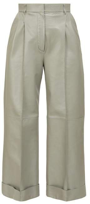 Pintucked Wide Leg Leather Trousers - Womens - Grey