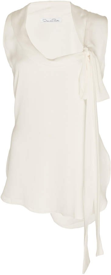 Tie-Accented Silk Sleeveless Blouse