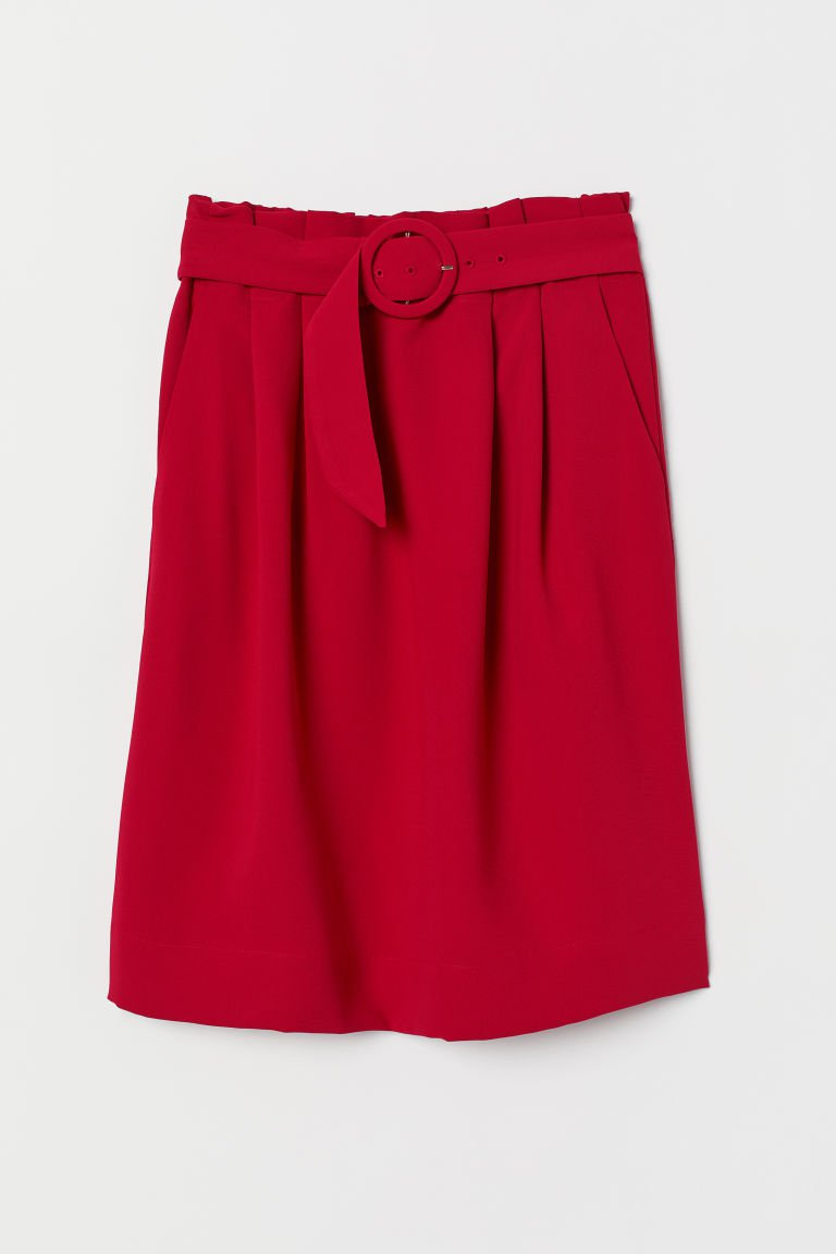 Skirt with Belt - Dark red - Ladies | H&M US